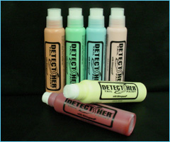 Detect-Her Bottles in a variety of colors.